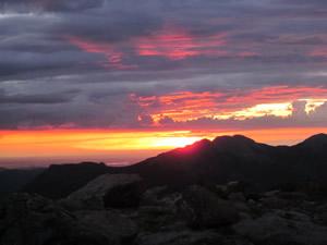 Sunrise over Twin Sisters Peaks